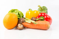 Mixed Fresh Vegetables and fruit on white Stock Images