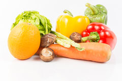 Mixed Fresh Vegetables and fruit on white Stock Image