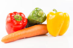 Mixed Fresh Vegetables and fruit on white Stock Photography