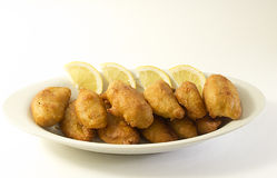 Mixed fried. Varied mixed fried and lemon Royalty Free Stock Photography