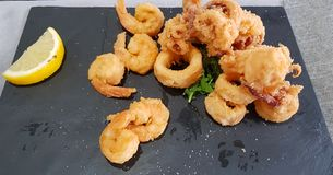 Mixed fried calamari royalty free stock images