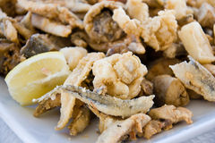 Mixed fried fish Stock Images