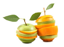 Mixed fruit. On white background royalty free stock photos