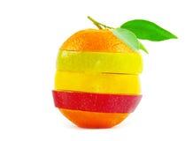 Mixed fruit. Isolated on white royalty free stock image