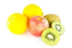 Mixed fruit. Isolated on white background Stock Photos