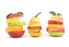 Mixed fruit. Mixed creative fruit studio isolated Stock Photography