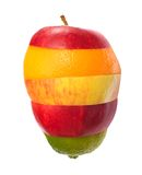 Mixed Fruit. Different kinds of fruit stacked on white background Stock Photo