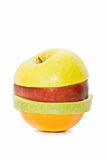 Mixed fruit, apple-shaped Stock Images