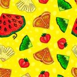 Mixed fruit background. seamless pattern. fruit mix stock illustration