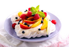 Mixed fruit and berry Pavlova Royalty Free Stock Images
