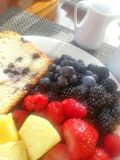 Mixed fruit and blueberry bread on a plate Royalty Free Stock Photo