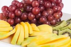 Mixed fruit chopped. Fresh and tasty mixture of chopped fruit Stock Photography