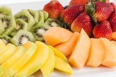 Mixed fruit chopped. Fresh and tasty mixture of chopped fruit Stock Photos
