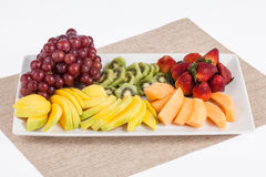 Mixed fruit chopped. Fresh and tasty mixture of chopped fruit Royalty Free Stock Photo