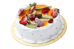 Mixed Fruit Cream Cake Stock Image