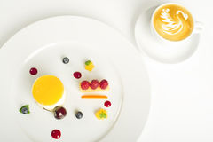 Mixed fruit dessert with coffee Royalty Free Stock Images