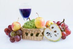 Mixed fruit isolate on white background. Mixed fruit on the basket isolate on white background royalty free stock image