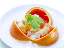 Mixed fruit jelly orange flavour. Stock Images