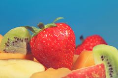 Mixed fruit kiwi strawberries and mellon Royalty Free Stock Photo
