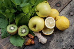 Mixed fruit and nettles for a refreshing and detoxifying smoothi Stock Images