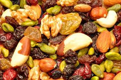 Mixed Fruit And Nut Background Royalty Free Stock Images