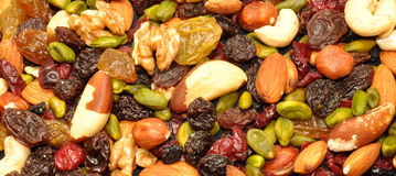 Mixed Fruit And Nut Background Royalty Free Stock Photography