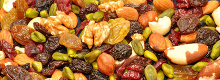 Mixed Fruit And Nut Background Royalty Free Stock Photos