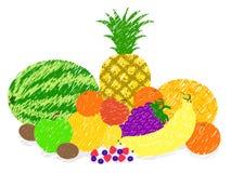 Mixed fruit paint drawing vector Stock Photos