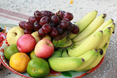 Mixed fruit in a plate for praying ancestors Royalty Free Stock Images