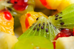 Mixed fruit salad. Macro close up of mixed fruit salad Royalty Free Stock Photo