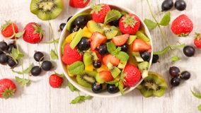 Mixed fruit salad stock images