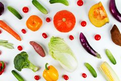 Mixed fruit and vegetable on isolated white background Royalty Free Stock Photo