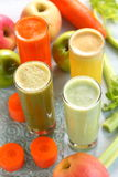 Mixed fruit and vegetable juice stock images