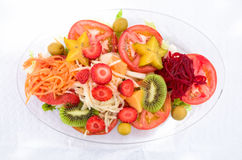 Mixed Fruit and Vegetable Salad. A plate of mixed fruits and vegetable salad from Tenerife, Canary Islands, Spain Royalty Free Stock Photography