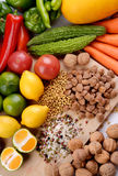 Mixed Fruit and Vegetables Royalty Free Stock Images