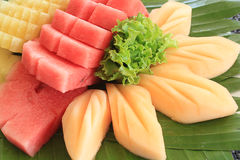 Mixed Fruit. Watermelon, pineapple, cantaloupe, sweet fresh fruit from the farm stock photo