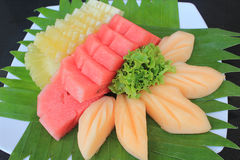 Mixed Fruit. Watermelon, pineapple, cantaloupe, sweet fresh fruit from the farm stock images