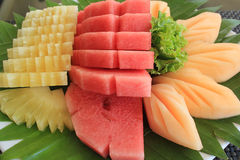 Mixed Fruit. Watermelon, pineapple, cantaloupe, sweet fresh fruit from the farm royalty free stock photography