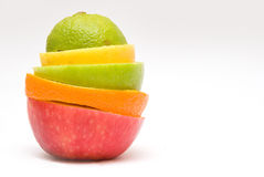 Mixed Fruit on a White Background. Mixed Fruit (Apple, Orange, Lemon, Lime) on a White Background stock images