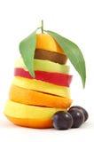 Mixed fruits. Isolated on white background Royalty Free Stock Photo