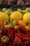 Mixed fruits arranged in rainbow colours Royalty Free Stock Images