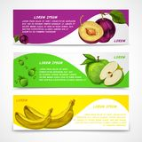Mixed fruits banners collection. Mixed natural organic sweet fruits banners collection of apple plum and banana for cafe dessert menu design template vector Royalty Free Stock Image