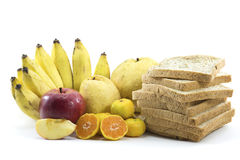 Mixed Fruits and Bread on white background Royalty Free Stock Photo
