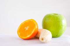 Mixed fruits for health in white background Stock Image