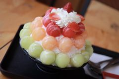 Mixed fruits bingsu. The image of the mixed fruits bingsu is a Korean dessert in Thailand royalty free stock photos