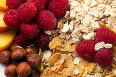 Mixed of  fruits, nats, berry and flakes Royalty Free Stock Photos