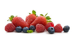 Mixed Fruits, strawberry,raspberry and blueberry. Strawberry,raspberry and blueberry isolated on white background Stock Images