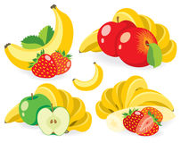 Mixed fruits vector illustrations Royalty Free Stock Images