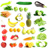 Mixed Fruits and Vegetables. On white background stock photos