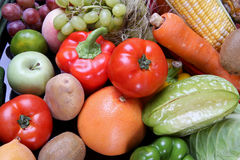 Mixed fruits vegetables. There are mixed fruits vegetables stock image